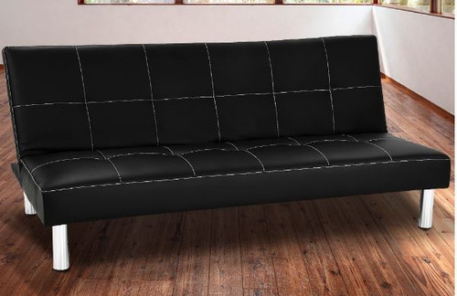 LANCASTER   3 SEATER LEATHERETTE  SOFA BED  -  BLACK