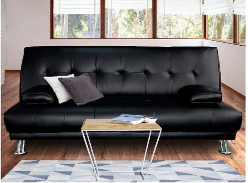 LEEBRAND  3 SEATER LEATHERETTE  SOFA BED  -  BLACK