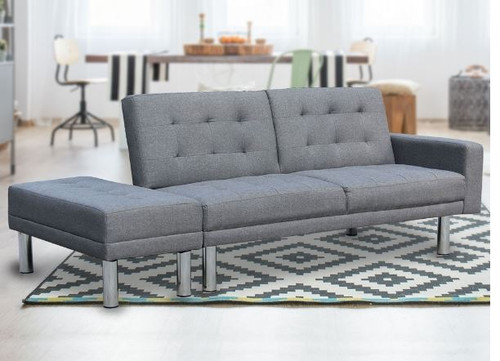 3 SEATER FABRIC SOFA BED WITH OTTOMAN - GREY