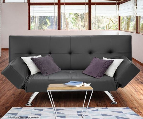 ELIZA   3 SEATER LEATHERETTE SOFA SOFA BED  -  GREY