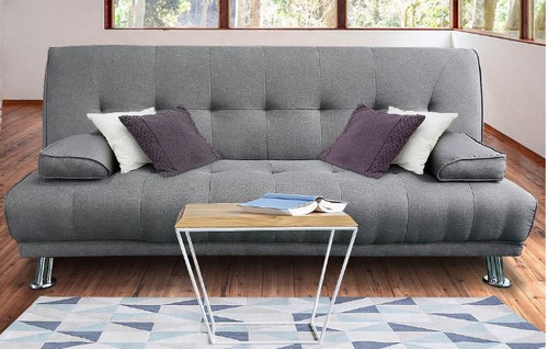 BRANDIN  3 SEATER FABRIC SOFA BED WITH ARMREST  -  LIGHT GREY