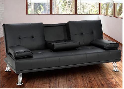 LANCER 3 SEATER LEATHERETTE  SOFA BED  -  BLACK