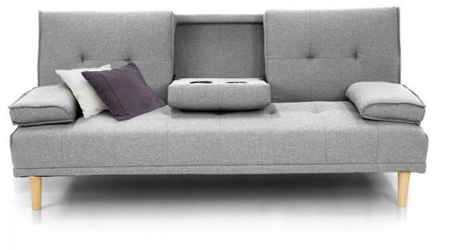 GLADYS  3 SEATER FABRIC SOFA BED WITH CUP HOLDERS  -  LIGHT GREY