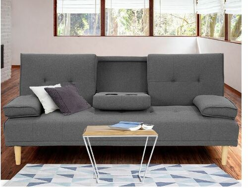 GLADYS  3 SEATER FABRIC SOFA BED WITH CUP HOLDERS  -  DARK GREY