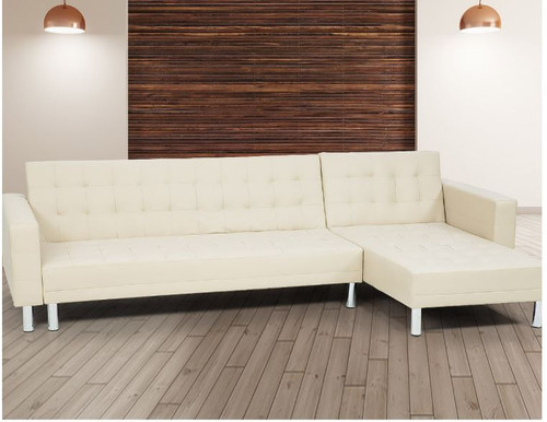 BOROUGH3 SEATER  LEATHERETTE SOFA LOUNGE WITH CHAISE(RF) - BEIGE