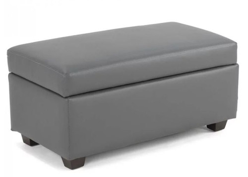 BENEDICTA MEDIUM  LEATHERETTE UPHOLSTERED OTTOMAN - 430(H) X 800(L) -GREY