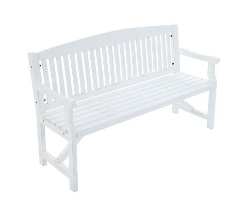 GANY  OUTDOOR 2 SEATER OUTDOOR BENCH WITH ARMREST -840(H) X 1600(W)- WHITE