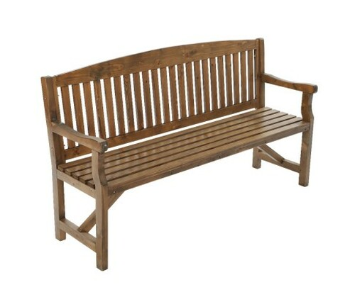 GANY  OUTDOOR 2 SEATER OUTDOOR BENCH WITH ARMREST -840(H) X 1600(W)- NATURAL LACQUER