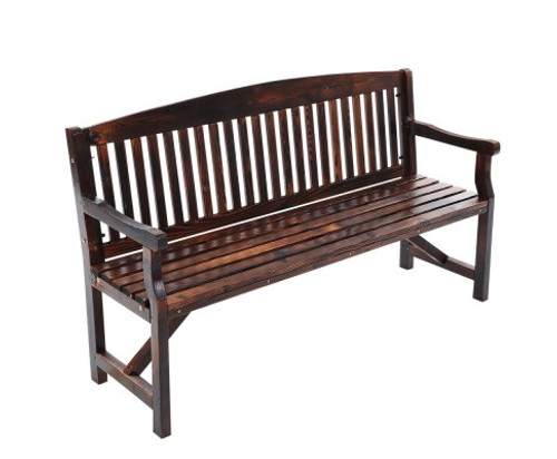 GANY  OUTDOOR 3 SEATER OUTDOOR BENCH WITH ARMREST -840(H) X 1600(W)- CHARCOAL LACQUER