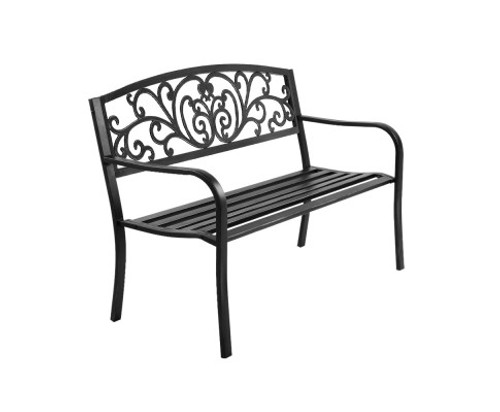 BENTILE OUTDOOR 3 SEATER METAL  BENCH WITH ARMREST -850(H) X 1270(W)-BLACK