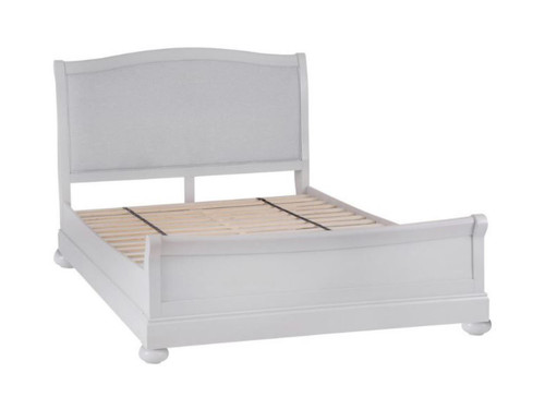 DOUBLE GLANCE SLEIGH BED FRAME WITH FABRIC UPHOLSTERED HEADBOARD   (13-14) - SOFT GREY FINISH