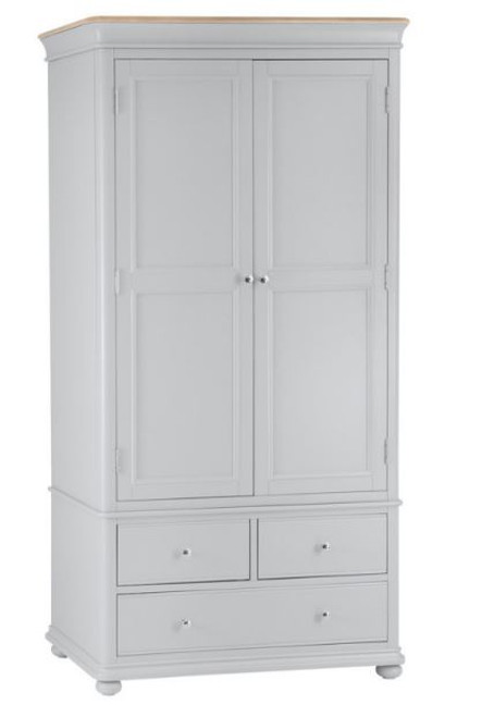 GLANCE  2 DOOR 3 DRAWER OAK WARDROBE  (13-14) - 2000(H) X 1000(W)  -2 TONE