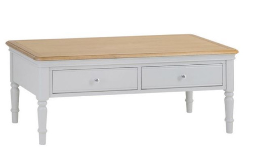 GLANCE 2 DRAWER OAK COFFEE TABLE - (13-14) - 450(H) X 900(W)  -2 TONE