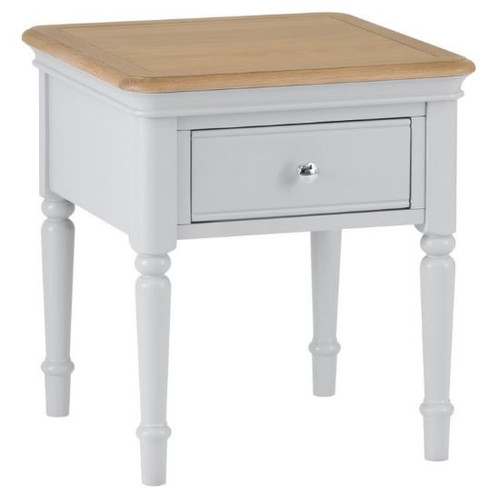 GLANCE OAK  LAMP/ SIDE TABLE WITH DRAWER - (13-14) - 550(H) X 500(W)  -2 TONE