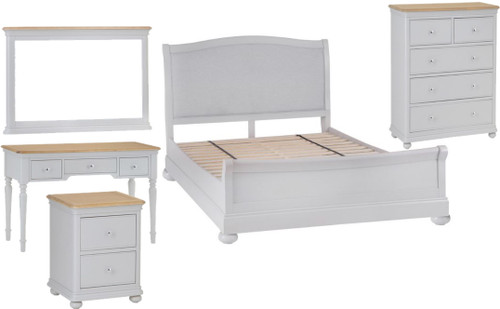 GLANCE KING 6 PIECE (THE LOT) OAK BEDROOM SUITE- (13-14) - SOFT GREY FINISH