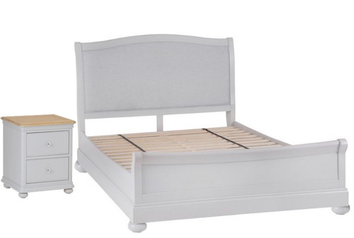 GLANCE KING 3 PIECE (BEDSIDE) OAK BEDROOM SUITE- (13-14) - SOFT GREY FINISH