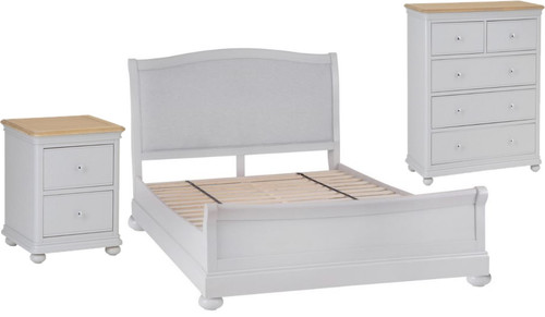 GLANCE DOUBLE OR QUEEN 4 PIECE (TALLBOY) OAK BEDROOM SUITE- (13-14) - SOFT GREY FINISH