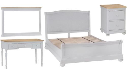 GLANCE DOUBLE OR QUEEN 5 PIECE (DRESSER) OAK BEDROOM SUITE- (13-14) - SOFT GREY FINISH