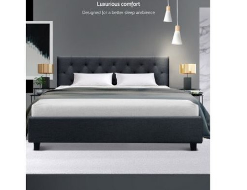 DOUBLE EDISON FABRIC UPHOLSTERED BED FRAME WITH TUFTED HEADBOARD- CHARCOAL