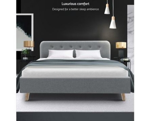 DOUBLE EMERSON FABRIC UPHOLSTERED BED FRAME- GREY