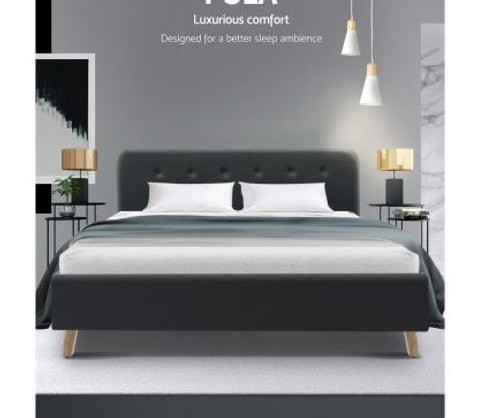 DOUBLE   EMERSON FABRIC BED FRAME- CHARCOAL
