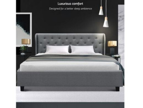 KING ISSA (MODEL:9-19-19-1) FABRIC GAS LIFT STORAGE BED FRAME WITH TUFTED HEADBOARD - GREY