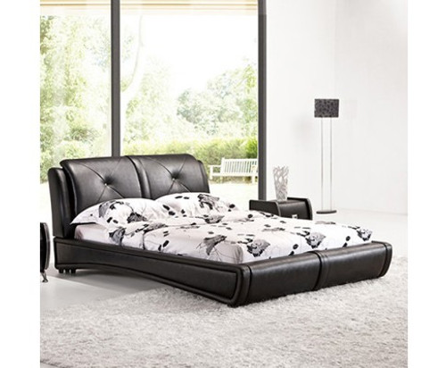 KING  MEMPHIS LEATHERETTE  BED FRAME WITH TUFTED HEADBOARD - BLACK