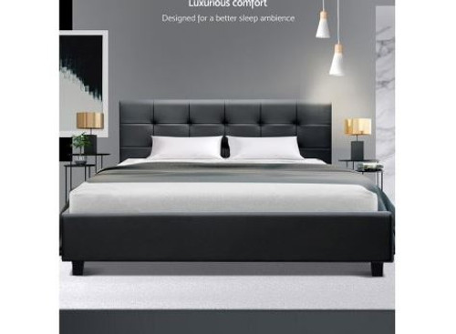 DOUBLE LEEVARDO LEATHERETTE BED FRAME WITH TUFTED HEADBOARD - GREY