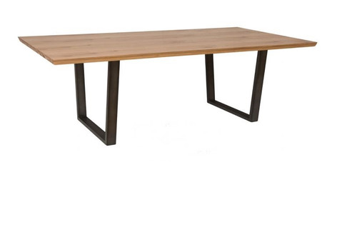 ANGULAR 1.4M OAK LARGE DINING TABLE WITH METAL LEGS -(IA-1.4T) - NATURAL / BLACK