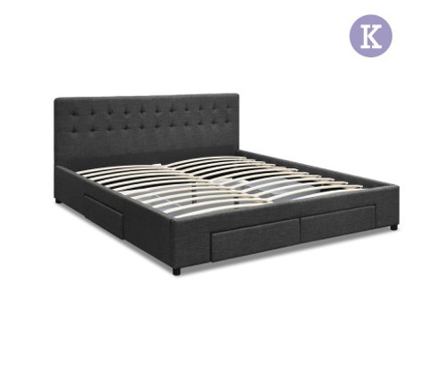 KING  DEVION  FABRIC BED FRAME WITH 4 STORAGE DRAWERS & TUFTED HEADBOARD -  CHARCOAL