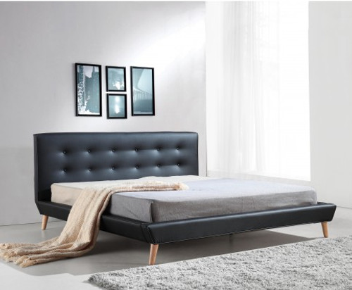 DELUXE KING LEATHERETTE BED FRAME WITH TUFTED HEADBOARD - BLACK