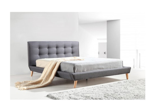 DELUXE DOUBLE FABRIC BED FRAME WITH TUFTED HEADBOARD-  GREY