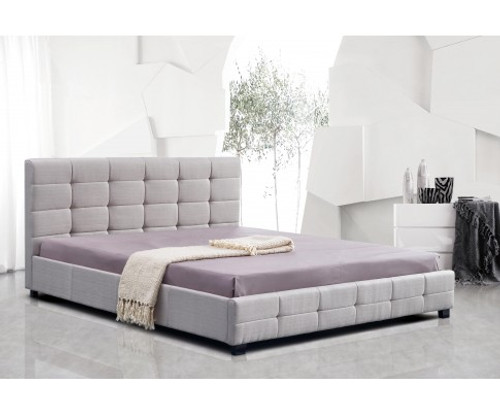 KING DELUXE FABRIC BED FRAME WITH TUFTED HEADBOARD - BEIGE
