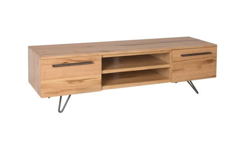 ANGULAR 2 DOOR OAK TV CABINET (IA-TV) - NATURAL / BLACK