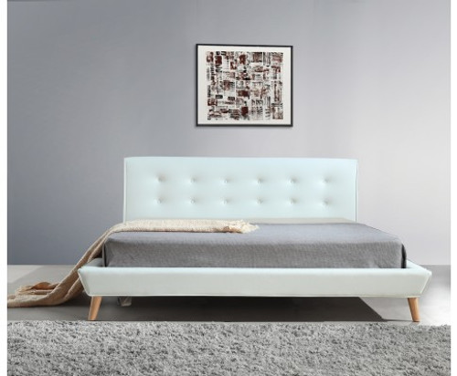 DELUXE KING LEATHERETTE BED FRAME WITH TUFTED HEADBOARD -WHITE