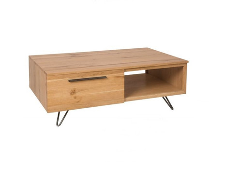 ANGULAR ONE DRAWER COFFEE TABLE WITH SHELF-(IA-CT) - NATURAL / BLACK