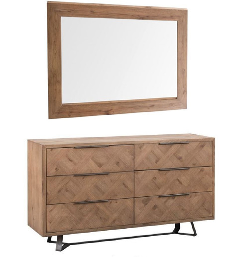 HERRINGBONE 6 DRAWER DRESSER CHEST & WALL MIRROR - (IB-6DC+WM) -  AGED GREY OAK / LIGHT GUN METAL GREY