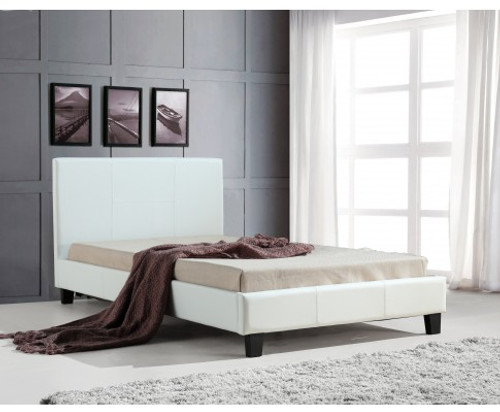 BELLA   KING SINGLE LEATHERETTE BED FRAME  -  WHITE