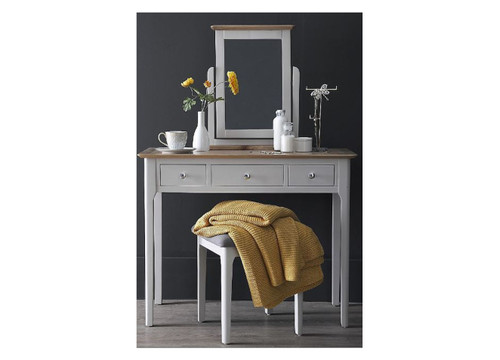 SPARINGO 3 DRAWER DRESSING TABLE WITH MIRROR (NTP-DM)  - DOVE GREY / OAK