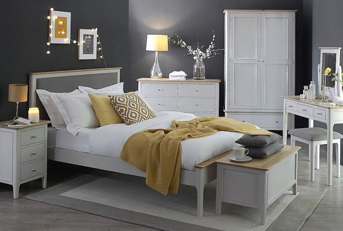 KING SPARING (NTP) 5 PIECE (DRESSER) OAK BEDROOM SUITE - DOVE GREY / OAK