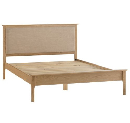 DOUBLE ROBINHOOD OAK BED FRAME WITH FABRIC UPHOLSTERED HEADBOARD (NT-60FH-AUS) - NATURAL /GREY