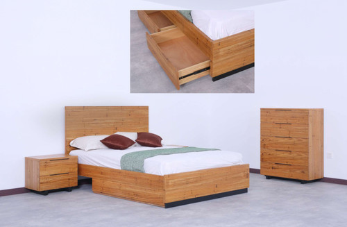 DOUBLE TUSCANY BED WITH SIDE DRAWER BOX - WORMY CHESTNUT
