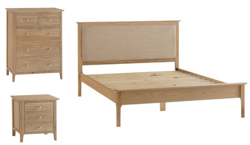ROBINHOOD KING 4 PIECE (TALLBOY) OAK BEDROOM SUITE- (NT) - BED WITH PADDED HEADBOARD - NATURAL OAK FINISH