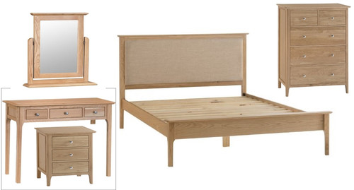 ROBINHOOD QUEEN 6 PIECE OAK (THE LOT) BEDROOM SUITE- (NT) - BED WITH PADDED HEADBOARD- NATURAL OAK FINISH