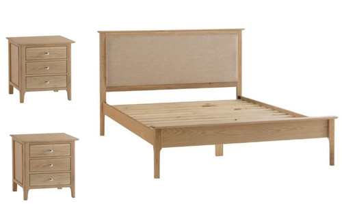 ROBINHOOD DOUBLE OR QUEEN  3 PIECE (BEDSIDE) OAK BEDROOM SUITE- (NT) -BED WITH PADDED HEADBOARD -NATURAL OAK FINISH