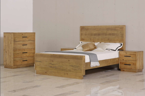 AUGUSTA DOUBLE OR QUEEN 4 PIECE TALLBOY BEDROOM SUITE - RUSTIC