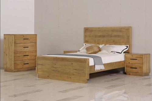 AUGUSTA KING 3 PIECE BEDSIDE BEDROOM SUITE - RUSTIC
