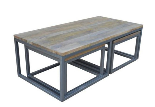 MANGO COFFEE  TABLE WITH METAL LEGS - SET OF 3 -(WOBN-008) - NATURAL DISTRESSED FINISH