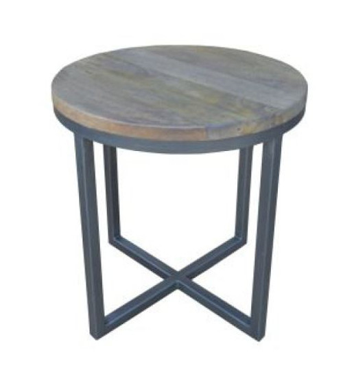 MANGO ROUND LAMP/SIDE TABLE  WITH METAL LEGS -(WOBN-013) - NATURAL DISTRESSED FINISH