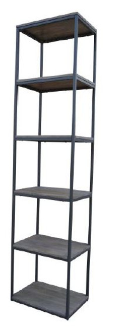 MANGO LARGE BOOKSHELF  WITH METAL LEGS  -(WOBN-023) - 1700(H) X 400(W) - NATURAL DISTRESSED FINISH